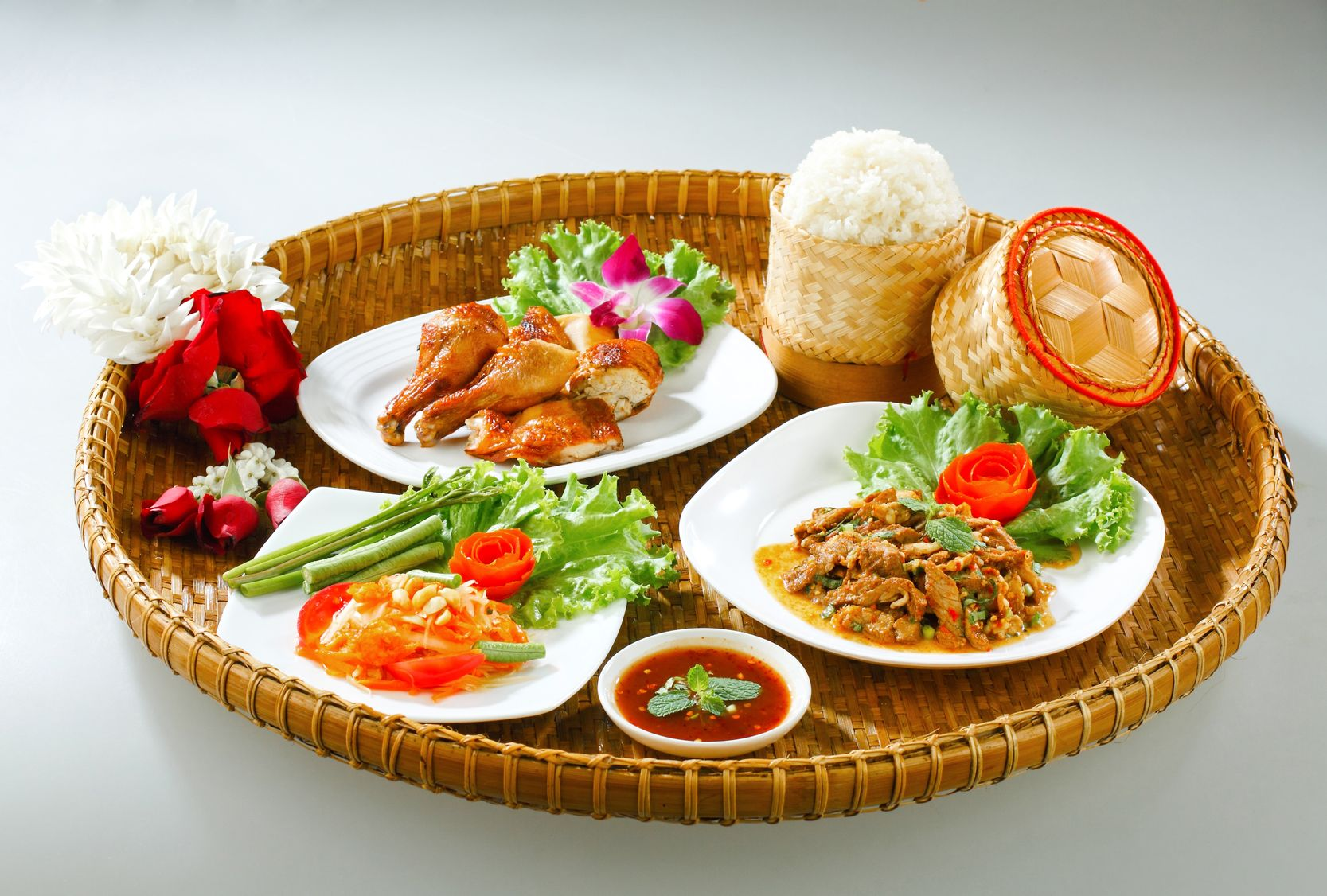 17584756 - full tray serves with northeast region thai food